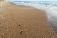 Footsteps on a beach in North Carolina Stock Images