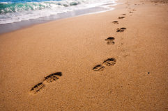Footsteps on the beach. In summertime Royalty Free Stock Photography