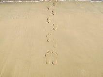Footsteps on the beach Stock Photos