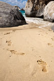 Footsteps on the beach of Tortola Island Stock Image