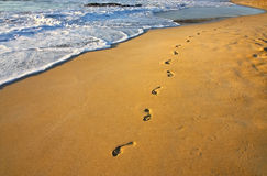 Footsteps on the beach and water Stock Images