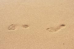 Footsteps on the beach. Footsteps on the yellow sand of the beach Royalty Free Stock Photography