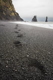 Footsteps in Black Sand Royalty Free Stock Photos
