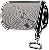 Footsteps in a can. Opened can with sand and footprints Royalty Free Stock Images