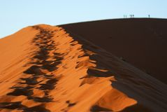 Footsteps on Dune 45, Namib Naukluft National Park, Namibia Royalty Free Stock Images