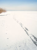 Footsteps on frozen lake chiemsee (11). Ice and coldness Stock Photo