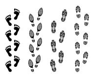Footsteps isolate on white background. Footprint symbols vector illustrations set. Imprint foot black, and print bare foot Stock Photos