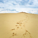 Footsteps leading to the top of Dune du Pilat, France Stock Photography