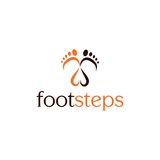 Footsteps  logo icon. Footsteps and a heart logo icon Stock Images