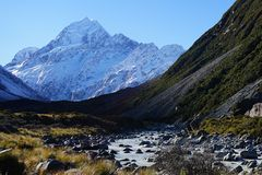 Footsteps of Lord of the Rings: Mount Cook New Zealand Stock Photo