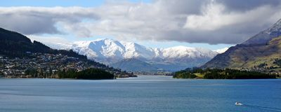 Footsteps of Lord of the Rings: Queenstown and Wakatipu lake Royalty Free Stock Photography