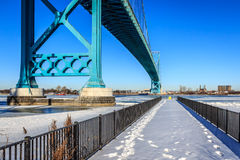 Footsteps Next To Ambassador Bridge Stock Image