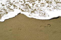 Footsteps In The Sand. Background Royalty Free Stock Images