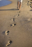 Footsteps on the sand Stock Photos