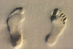 Footsteps on a sand Royalty Free Stock Photography