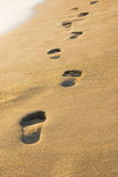 Footsteps in the sand. On the beach Royalty Free Stock Photos