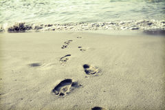 Footsteps in the sand Stock Photography