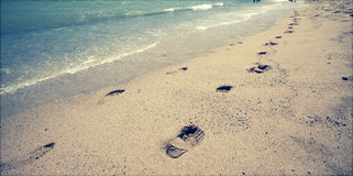 Footsteps in the sand Stock Photos