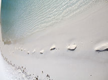 Footsteps on sand beach, wave Royalty Free Stock Photo