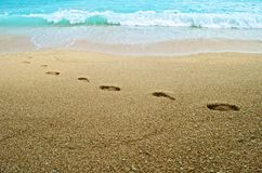 Footsteps on the sand Stock Photography