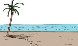 Footsteps in Sand By Palm Tree. Cartoon scene of footsteps near coconut palm tree Royalty Free Stock Images