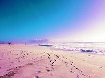 Footsteps on an endless beach, photographed in South Africa