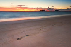 Footsteps in the sand at sunrise on empty beach. Colorful skies just before sunrise at Lanikai Beach, in Kailua Stock Photography