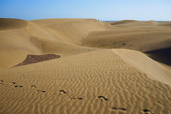 Footsteps on sandy dunes in desert with natural colors Royalty Free Stock Photos