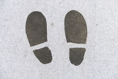 Footsteps sign. On the floor Royalty Free Stock Photos