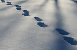 Footsteps in the snow. Footsteps and shadows in freshly fallen snow Royalty Free Stock Images
