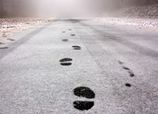 Footsteps on the snow. Footsteps on a snowy road leading into the fog Stock Photos