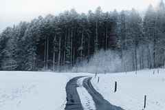 Footsteps on a snow covered street at countryside in front of forest. Footsteps on a snow covered street at countryside Royalty Free Stock Photos