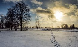 Footsteps In The Snow At Sunset. In winter Royalty Free Stock Images