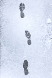 Footsteps on a snowy asphalt Royalty Free Stock Images