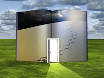 Footsteps. Surrealism. Book with opened door and tracks on white sand Royalty Free Stock Photos