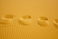 Footsteps on the texture of sand dunes Royalty Free Stock Photography