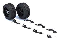 Footsteps with tires. Footsteps walking with tires, 3d illustration Stock Image