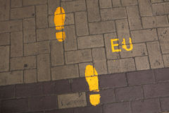 Footsteps to the European Union. Direction sign in EU headquarte. Footsteps to the European Union. Direction sign in the EU headquarter in Brussels, Belgium stock photography
