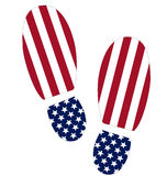 Footsteps of the USA. Footsteps illustration with the american flag texture Royalty Free Stock Images