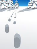 Footsteps in the winter forest. Vector illustration, AI file included Royalty Free Stock Photos