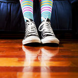 Footwear. Girl in a waiting room. Close up of her footwear Royalty Free Stock Images