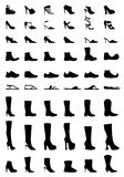 Footwear. 54 executions of different shoes: high, medium and low heels, striptease shoes, boots, sandals, flip flops, platform shoes, clown and jester shoes Royalty Free Stock Photos