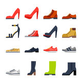 Footwear for all occasions. shoes, sneakers, boots. Shoes for all occasions. shoes, sneakers, boots. Vector flat icon set and illustrations vector illustration