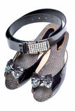 Footwear and belt. Ladies footwear and stone embeded leather belt royalty free stock photos