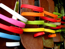 Footwear Colors. Indian footwear known as chappals for sale in a shop Royalty Free Stock Photos