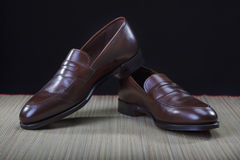 Footwear Concepts and Ideas. Pair of Stylish Expensive Modern Calf Leather Penny Loafers Stock Images