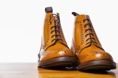 Footwear Concepts.Pair of High Gentleman Tanned Brogues Boots. I Stock Images