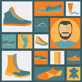 Footwear elements icons set. Easily edited. Vector illustration Stock Illustration