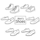 Collection Of Different Men`s Shoes Pair, Outline stock illustration