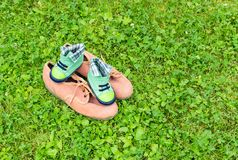 Footwear on grass stock photo